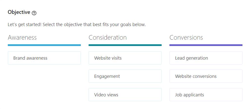 LinkedIn campaign objective