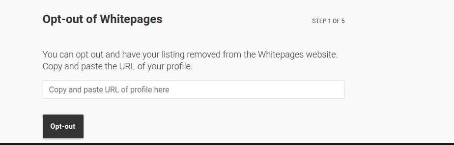 whitepages opt out page